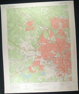 Raleigh North Carolina Wake County 1972 vintage USGS original Topo chart map