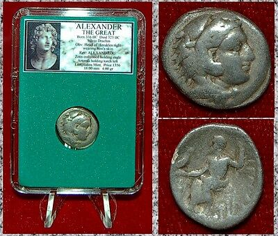 Ancient Greek Coin Of ALEXANDER THE GREAT Herakles Zeus Silver Drachm Abydos