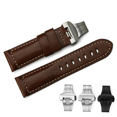 24mm Brown Genuine Calf Leather Watch Band Deployant Clasp Strap For PAM Mens