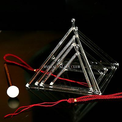 "4 pcs of Clear Quartz Crystal Singing Pyramids 3""4""5""6"" Crystal Singing Bowl"