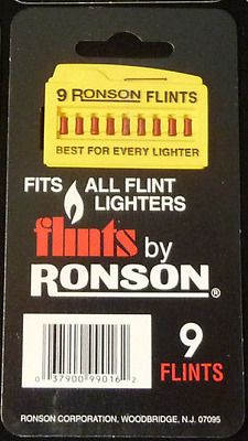RONSON Lighter Flints - Package of 9 flints Vintage ZIPPO Replacements NOS