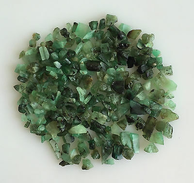 50 Cts Scoop Natural Emerald Green Sawed Chips Rough Gemstones Loose Lot Raw