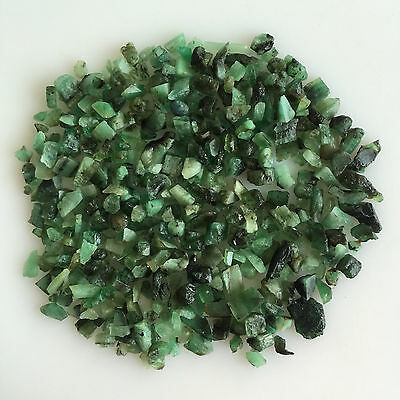 100 Cts Scoop Natural Emerald Green Sawed Chips Rough Gemstones Loose Lot Raw
