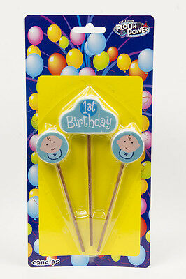1st Happy Birthday Boys Candles Star Pick Candles Blue