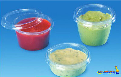 100 pcs Plastic Disposable Clear BOX Round cup with lid 100ml 4oz Sauce 7100C+P