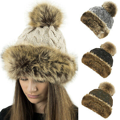 Ladies Luxury Winter Fleece Lined Bobble Beanie Hat With Fur Trim And Pom Pom