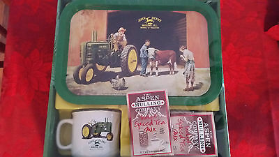 John Deere 2002 Mugs And Serving Plate Collectible In Box Model A Tractor
