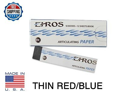 """DENTAL ARTICULATING PAPER THIN (0.003"""") RED/BLUE  144 Sheets  MADE IN USA"""