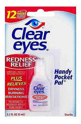 6 Pack BOX CLEAR EYES DROPS REDNESS RELIEF X6 PACKS 0.2 OZ .6 ML Each