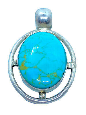 Signed HAN Mexico Sterling Silver & Turquoise Pendant