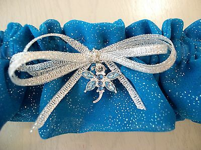 Bridal Garter - Blue with Sparkles (Australian Made)