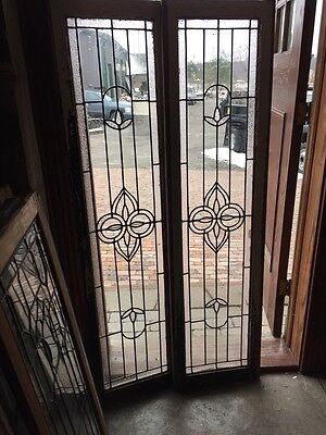 Sg 638 Matched Pair Antique Transom Windows Or Sidelight Windows Textured