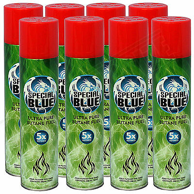 8x Special Blue 5x Refined Butane Gas Extra Purified Fuel Torch Lighter Refill
