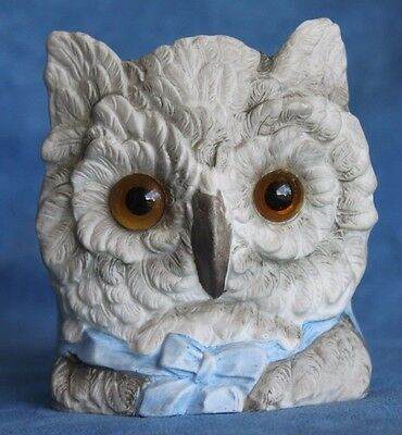 Large Antique GLASS EYES Bisque FAIRY LAMP Blue Bow Hoot Owl Candle Holder Cup