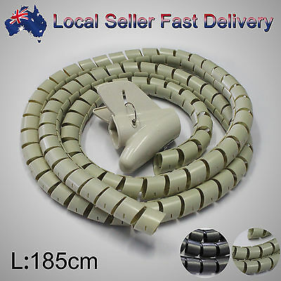 Spiral Cable Hide Cover Cord Power Wire Management Organizer Wrap with Clip