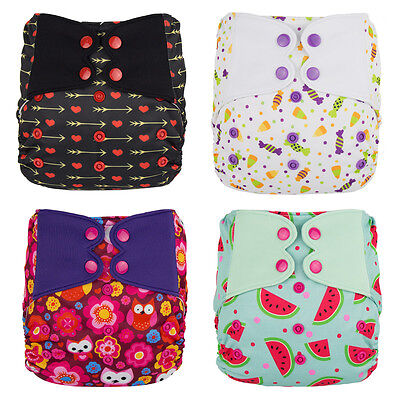 ElfDiaper One Size Pocket Cloth Baby Diaper Stay Dry 4 Pieces/Pack + 4 MF Insert