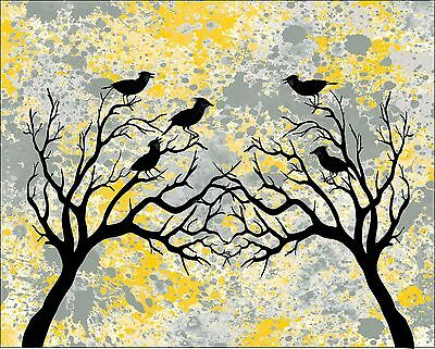 Yellow Black & Gray Home Decor Birds Wall Art Photo Print Matted Bedroom Picture