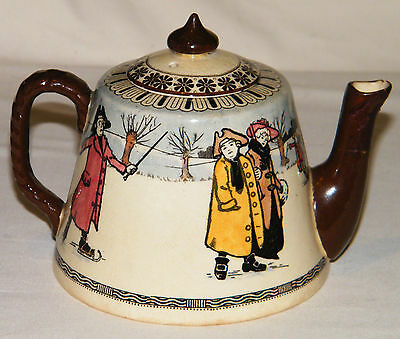 Antique ROYAL DOULTON ENGLAND Dickensian ICE SKATERS SERIES 1902-22 TEAPOT