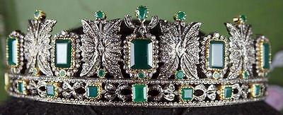 15.53 Ctw Rose Cut Diamond and Emerald Sterling Sliver Victorian Princess Tiara