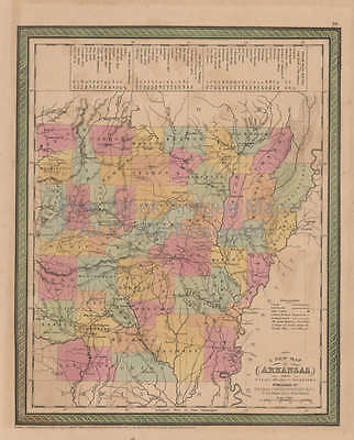 Arkansas Vintage Map Mitchell Cowperthwait 1853 Original