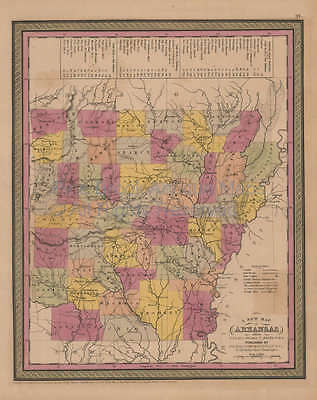 Arkansas Antique Map Mitchell Cowperthwait 1852 Original