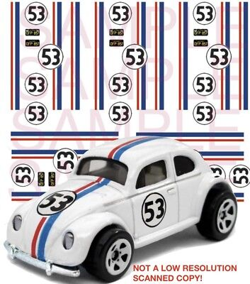 Herbie the Love Bug water slide 1:64 scale decal sheet 1/64 #26 Hot Wheels