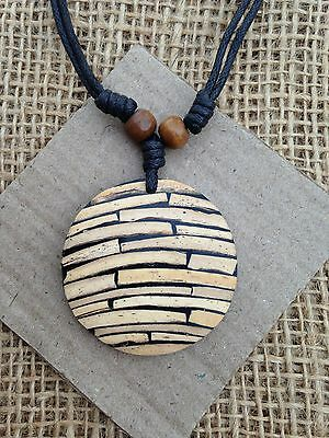 Round Bamboo Pieces Pendant / Necklace Boho Hippy Jewellery from Thailand.