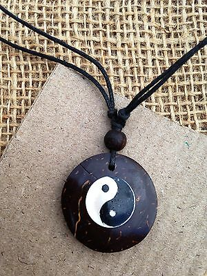 Coconut Disc Pendant Necklace with Yin & Yang Shell Design Boho Hippy Jewellery