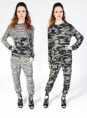 Ladies Camouflage Tracksuit Print Workout Lounge Suit Army Jumper Joggers Camo