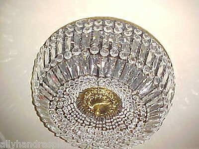 Vintage Italian Crystal Italy Flush Mount Chandelier Ceiling Fixture Light 24""