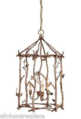 Currey Company Tivoli Wrought Iron Twig Lantern Bird Cage Chandelier Chinoiserie