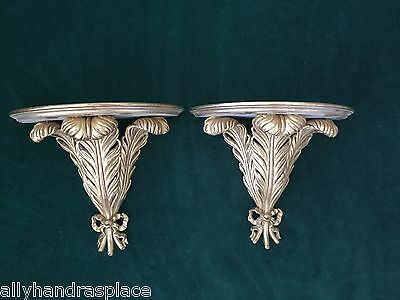Stunning Vintage French Carved Giltwood Frond Pair Wall Sconces Shelf Bracket