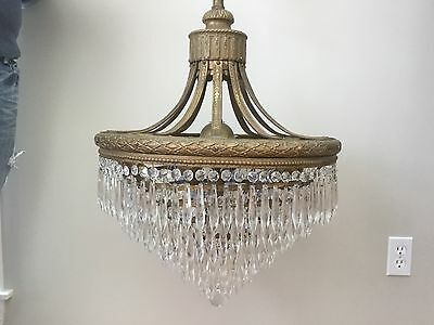 Antique French Empire Wedding Cake Crystal Chandelier Ceiling Fixture Tier