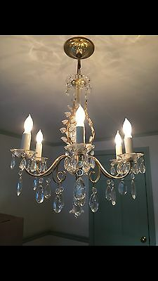 Vintage Maison Bagues Style Brass Crystal Chandelier Leaf Hollywood Regency 50's