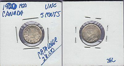 Canada 5 Cents Silver Coin 1920 Uncirculated Condition