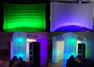 Inflatable Photo Booth Enclosure ON SALE 2 door 8 bulb and LED WALL