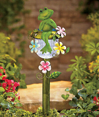Frog Solar Powered Lighted Lawn Yard Garden Stake Outdoor Decoration New