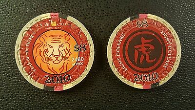 2010 cache creek chinese new year of the tiger $8 casino chip unc