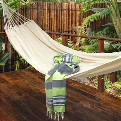 Large Heavy Weave Cotton Hammock and Carry Bag Camping Travel Beach Garden