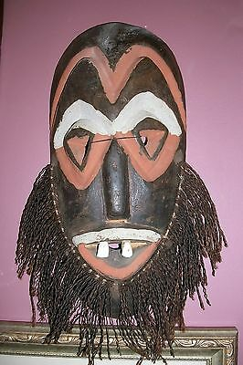 Vintage African Hand Carved Wooden Mask with Real Teeth. Malindi Tribe Kenya