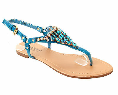 8b9c6ab05695 Womens Turquoise Diamante Jewel Flat Summer Beach Sandals Ladies Uk Size 3-8