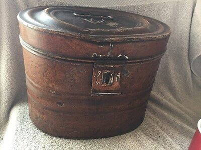 Victorian Antique Metal Hat Box With Blue Interior Seein