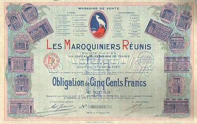 Les Maroquiniers Reunis > 1927 Paris France stock share certificate