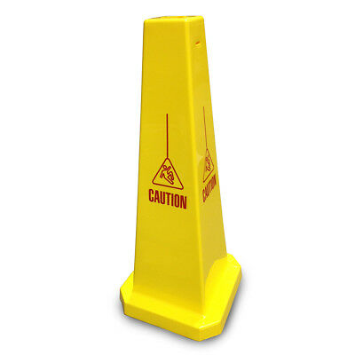 """JSP CLOFF950 Yellow 35"""" Safety Cone 'Caution with fallen man' Slotted Type"""