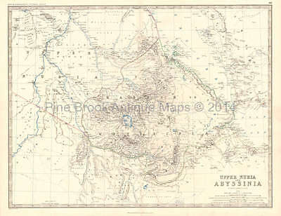 Upper Nubia Abyssinia Antique Map Johnston 1864 Original