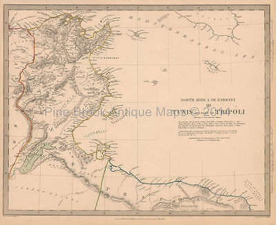 Tunis Tunisia Antique Map SDUK 1836 Original