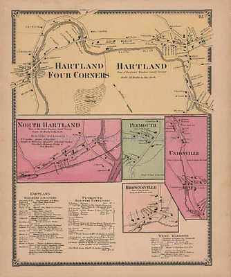 Hartland Four Corners Vermont Vintage Map Beers 1869 Original Decor Gift Idea