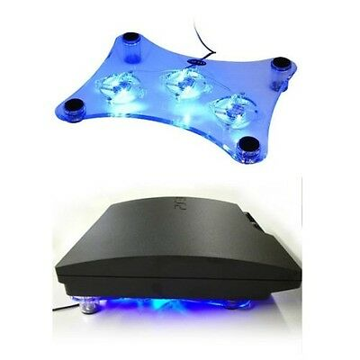 Cooler Fan PS2 PS3 Laptop Xbox 360 USB Blue LED Light Cooling Pad Stand 3 Fans