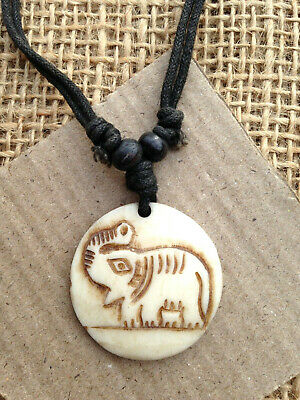 Cream Bone Round Disc Pendant Necklace with Elephant Detail from Thailand
