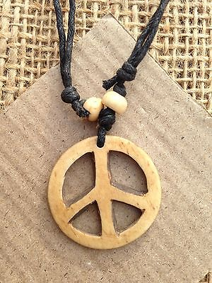 Bone Round Disc Pendant Necklace Light Brown with Peace Symbol from Thailand